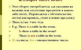 Оборот there is/there are: правило употребления конструкции, примеры, таблицы