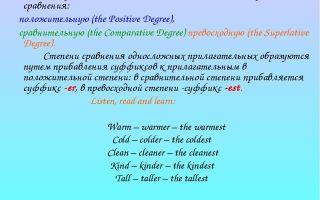 Прилагательные в английском языке: виды прилагательных, степени сравнения, порядок в предложении