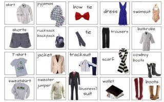 Виды одежды на английском языке с переводом