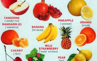 Фрукты и ягоды на английском языке