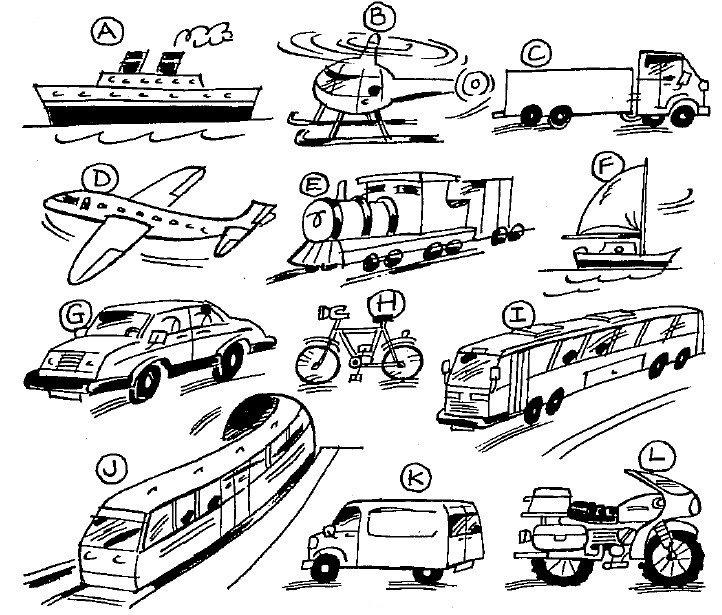 Виды транспорта в английском языке — средства передвижения ...